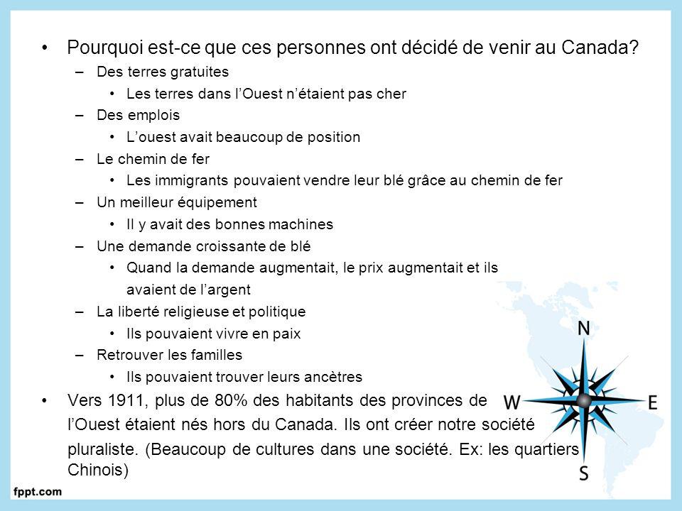 Les francophones dans lOuest Les Canadiens (francophones) et les Métis se sont installés dans lOuest du Canada Plusieurs places sont nommé par les français (ex: Lac La Biche en Alberta) En 1886, il y avait environ 16 000 francophones dans les prairies et vers 137 000 francophones vivaient dans les prairies Ils on eu un grand effet sur les prairies –Ils ont crée des entreprises prospères –Ils ont crée des villages qui existent encore aujourdhui Les franco-Albertain, même en étant une minorité ont refusé dabandonner leur droit dapprendre dans leur langue Ils ont réussi à créer des écoles francophones dans lOuest Ils ont aidé dans le développement dun pays bilingue