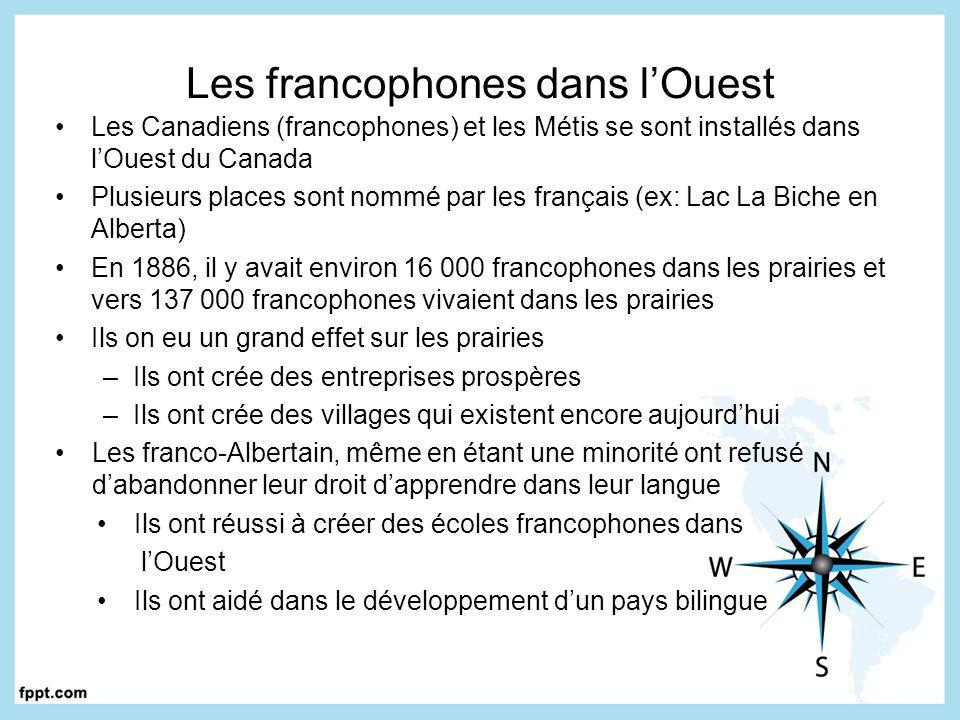 Les francophones dans lOuest Les Canadiens (francophones) et les Métis se sont installés dans lOuest du Canada Plusieurs places sont nommé par les fra