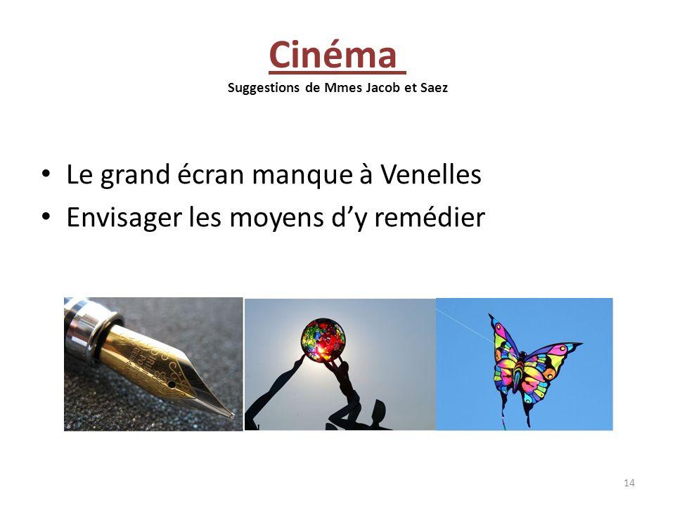 Cinéma Suggestions de Mmes Jacob et Saez Le grand écran manque à Venelles Envisager les moyens dy remédier 14