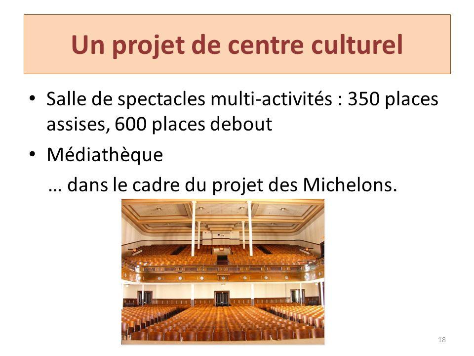 Un projet de centre culturel Salle de spectacles multi-activités : 350 places assises, 600 places debout Médiathèque … dans le cadre du projet des Mic