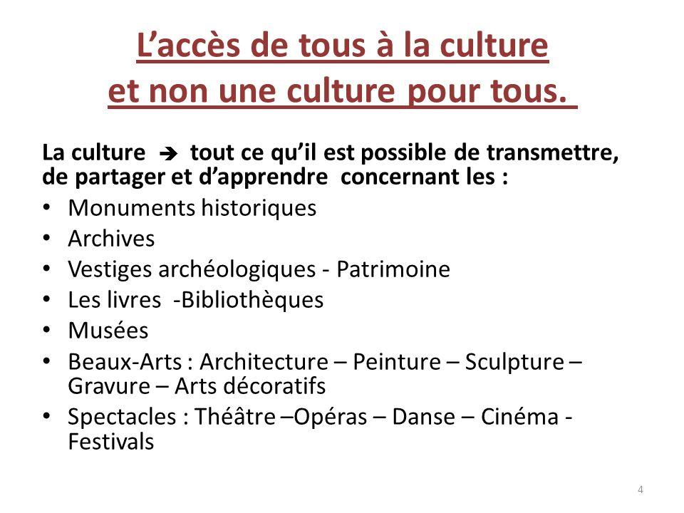 Laccès de tous à la culture et non une culture pour tous. La culture tout ce quil est possible de transmettre, de partager et dapprendre concernant le