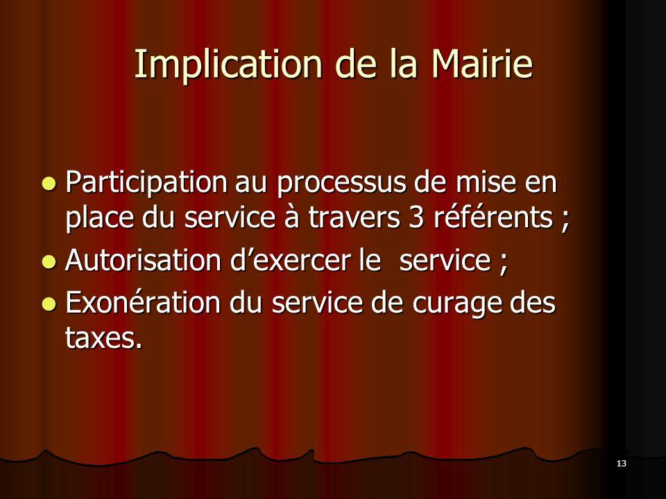 13 Implication de la Mairie Participation au processus de mise en place du service à travers 3 référents ; Participation au processus de mise en place