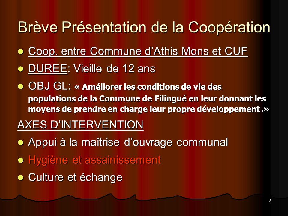 2 Brève Présentation de la Coopération Coop. entre Commune dAthis Mons et CUF Coop. entre Commune dAthis Mons et CUF DUREE: Vieille de 12 ans DUREE: V
