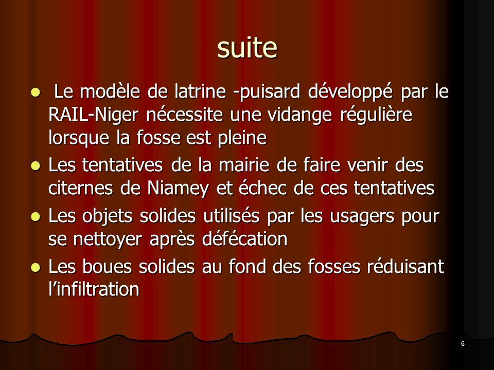 6 suite Le modèle de latrine -puisard développé par le RAIL-Niger nécessite une vidange régulière lorsque la fosse est pleine Le modèle de latrine -pu