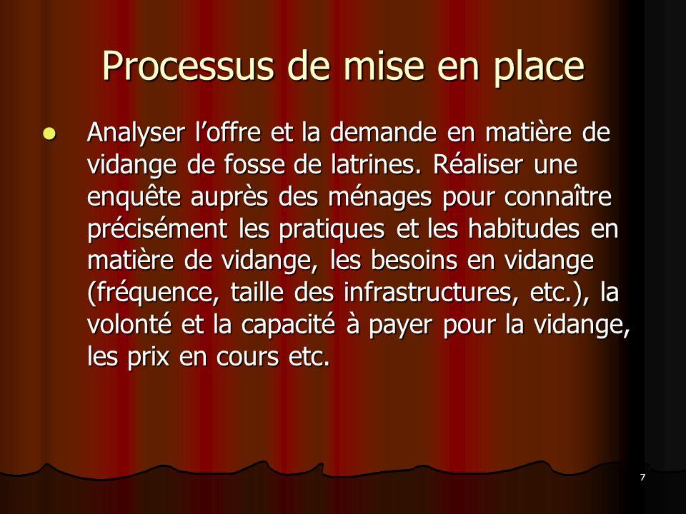 7 Processus de mise en place Analyser loffre et la demande en matière de vidange de fosse de latrines.