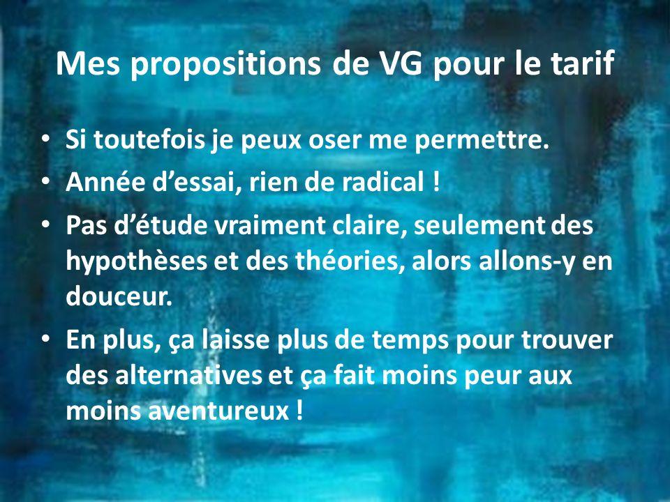 Mes propositions de VG pour le tarif Si toutefois je peux oser me permettre.