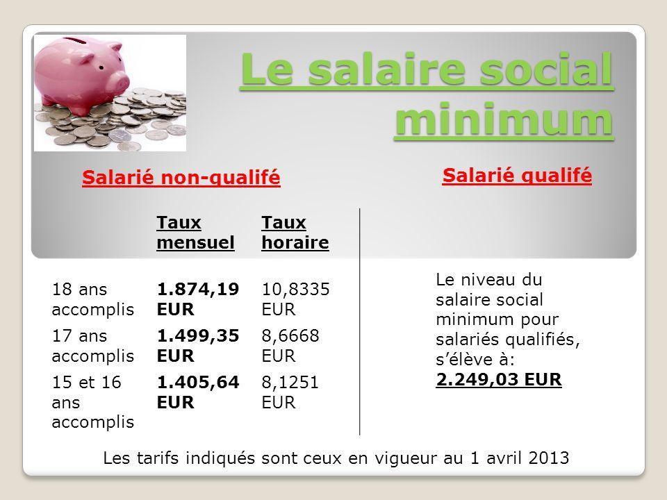 Le salaire social minimum Salarié non-qualifé Taux mensuel Taux horaire 18 ans accomplis 1.874,19 EUR 10,8335 EUR 17 ans accomplis 1.499,35 EUR 8,6668 EUR 15 et 16 ans accomplis 1.405,64 EUR 8,1251 EUR Salarié qualifé Le niveau du salaire social minimum pour salariés qualifiés, sélève à: 2.249,03 EUR Les tarifs indiqués sont ceux en vigueur au 1 avril 2013