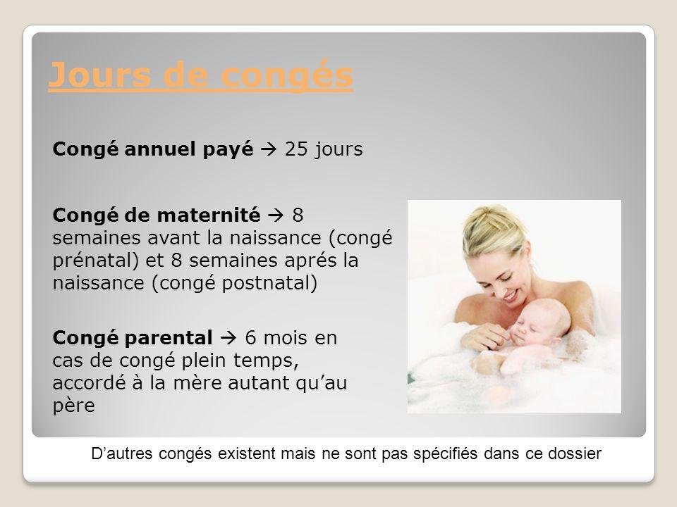 Congé annuel payé 25 jours Jours de congés Congé de maternité 8 semaines avant la naissance (congé prénatal) et 8 semaines aprés la naissance (congé p