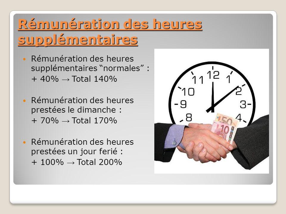 Rémunération des heures supplémentaires Rémunération des heures supplémentaires normales : + 40% Total 140% Rémunération des heures prestées le dimanc