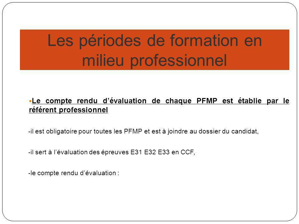 Les périodes de formation en milieu professionnel Le compte rendu dévaluation de chaque PFMP est établie par le référent professionnel - il est obligatoire pour toutes les PFMP et est à joindre au dossier du candidat, - il sert à lévaluation des épreuves E31 E32 E33 en CCF, - le compte rendu dévaluation :