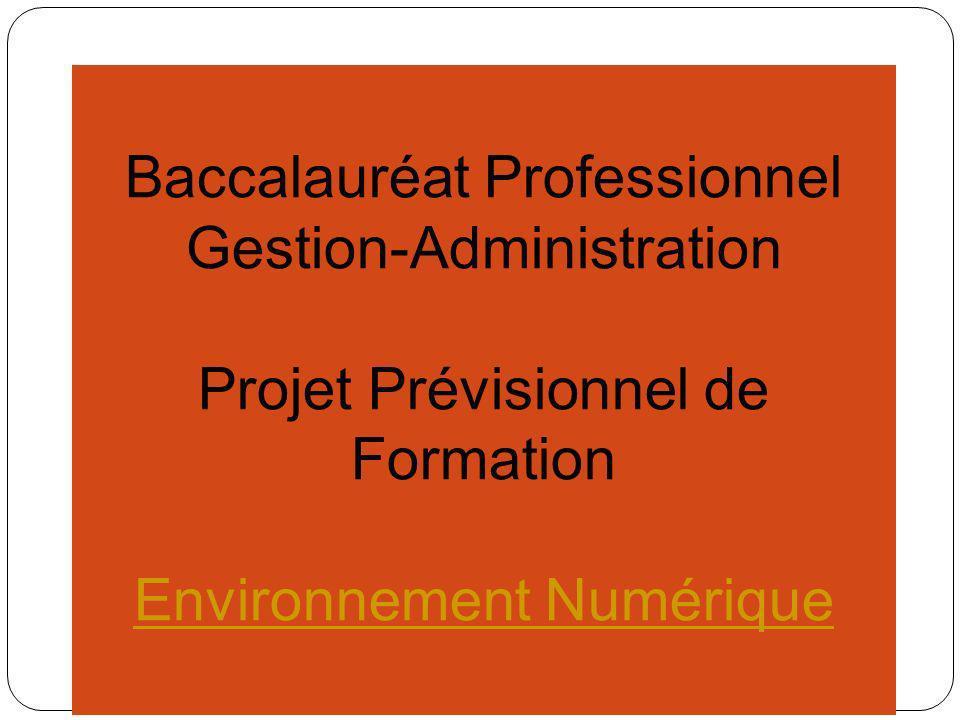 Baccalauréat Professionnel Gestion-Administration Projet Prévisionnel de Formation Scénarii Pédagogiques