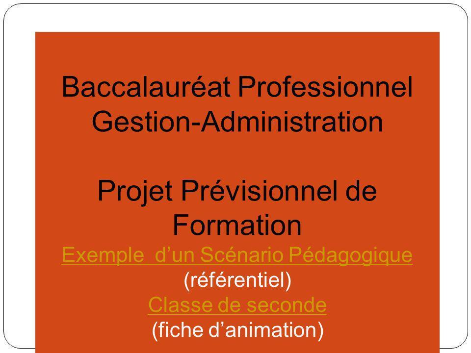 Baccalauréat Professionnel Gestion-Administration Projet Prévisionnel de Formation Exemple Scénario Pédagogique Exemple Scénario Pédagogique (référentiel) Classe de seconde (fiche danimation)