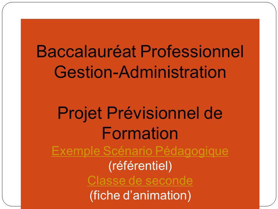Baccalauréat Professionnel Gestion-Administration Projet Prévisionnel de Formation Proposition de laccueil des élèves de seconde