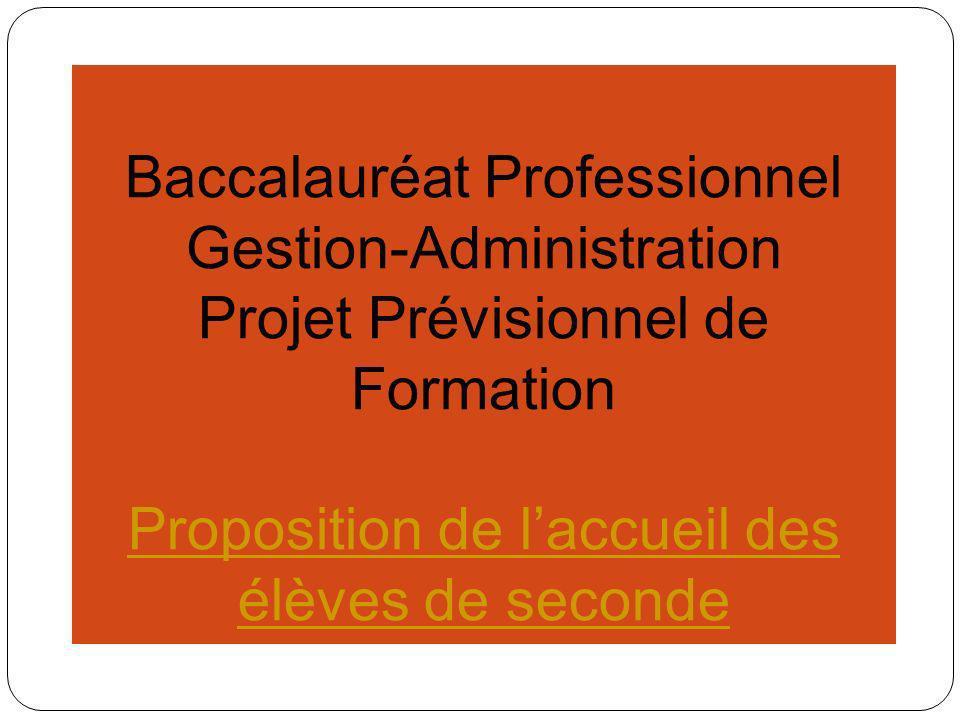 Baccalauréat Professionnel Gestion-Administration Projet Prévisionnel de Formation EEP