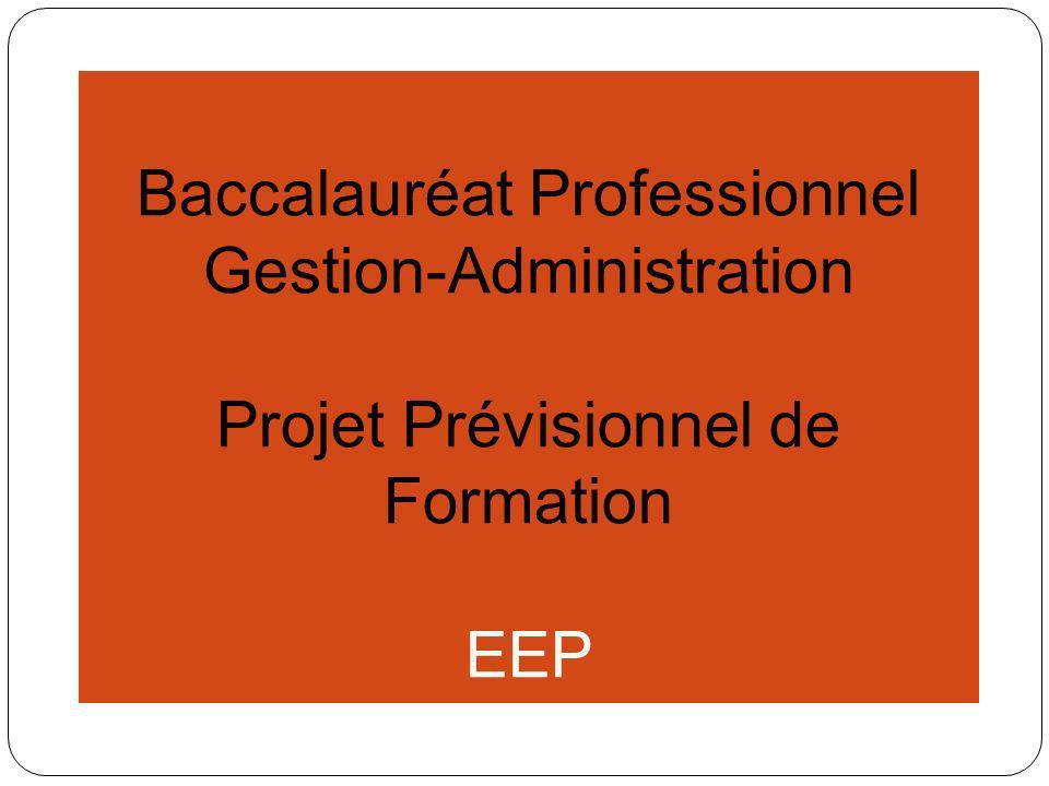 Baccalauréat Professionnel Gestion-Administration Projet Prévisionnel de Formation PGI