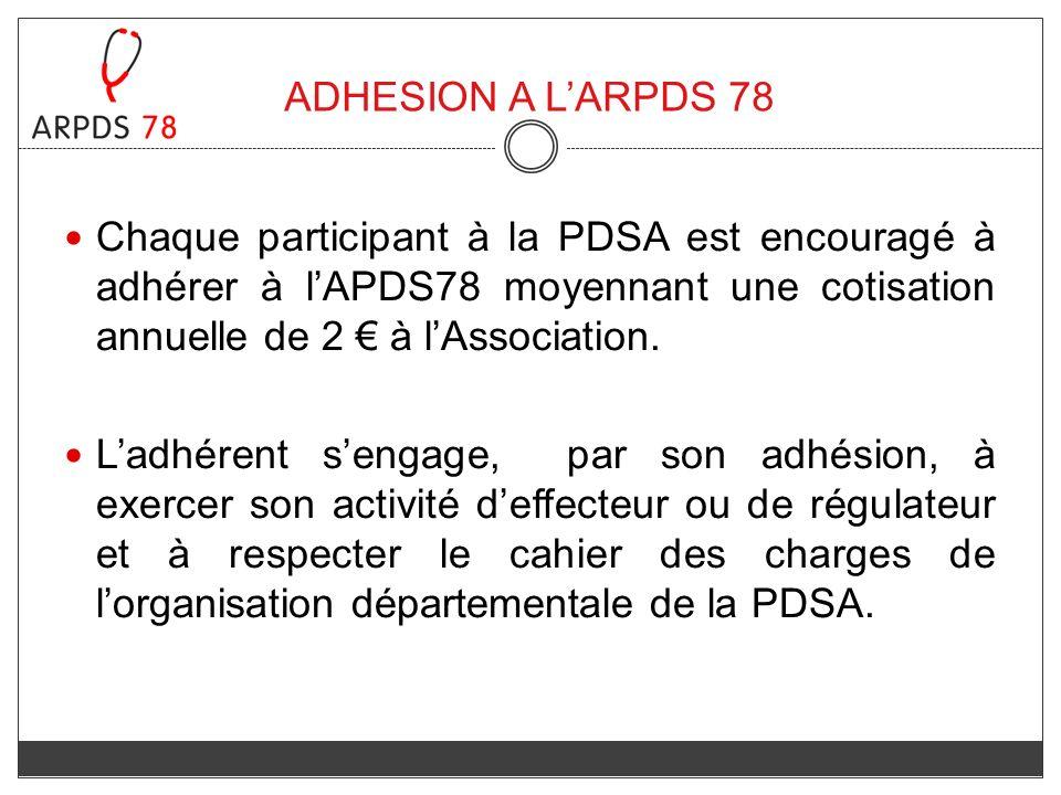 ADHESION A LARPDS 78 Chaque participant à la PDSA est encouragé à adhérer à lAPDS78 moyennant une cotisation annuelle de 2 à lAssociation. Ladhérent s