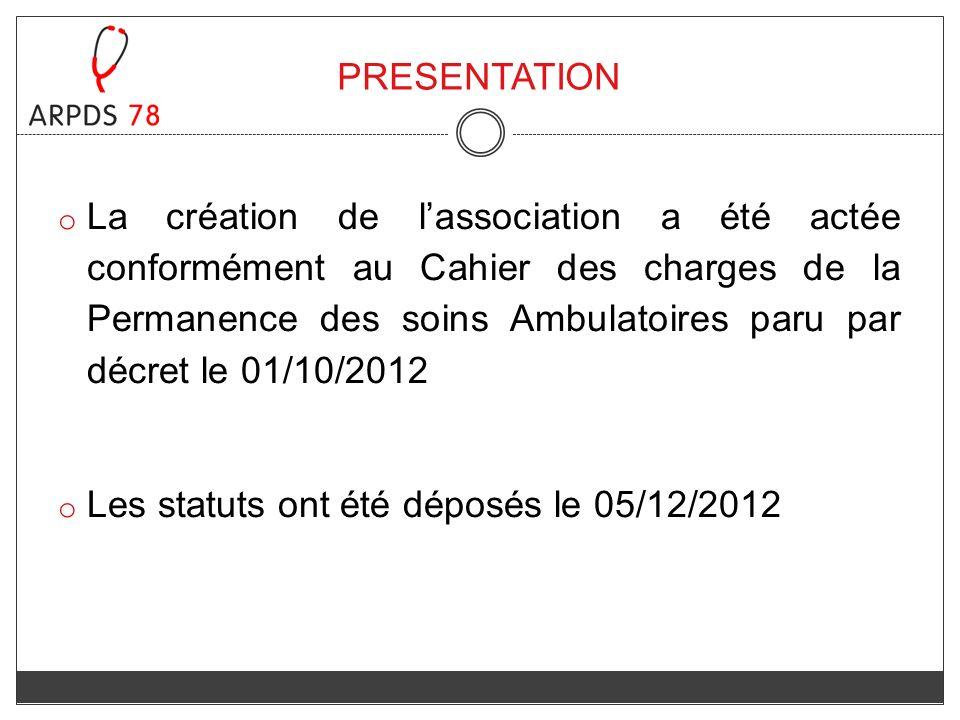 PRESENTATION o La création de lassociation a été actée conformément au Cahier des charges de la Permanence des soins Ambulatoires paru par décret le 0