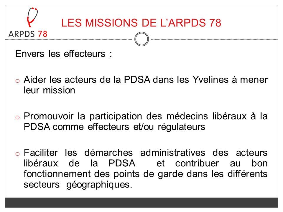 LES MISSIONS DE LARPDS 78 Envers les effecteurs : o Aider les acteurs de la PDSA dans les Yvelines à mener leur mission o Promouvoir la participation