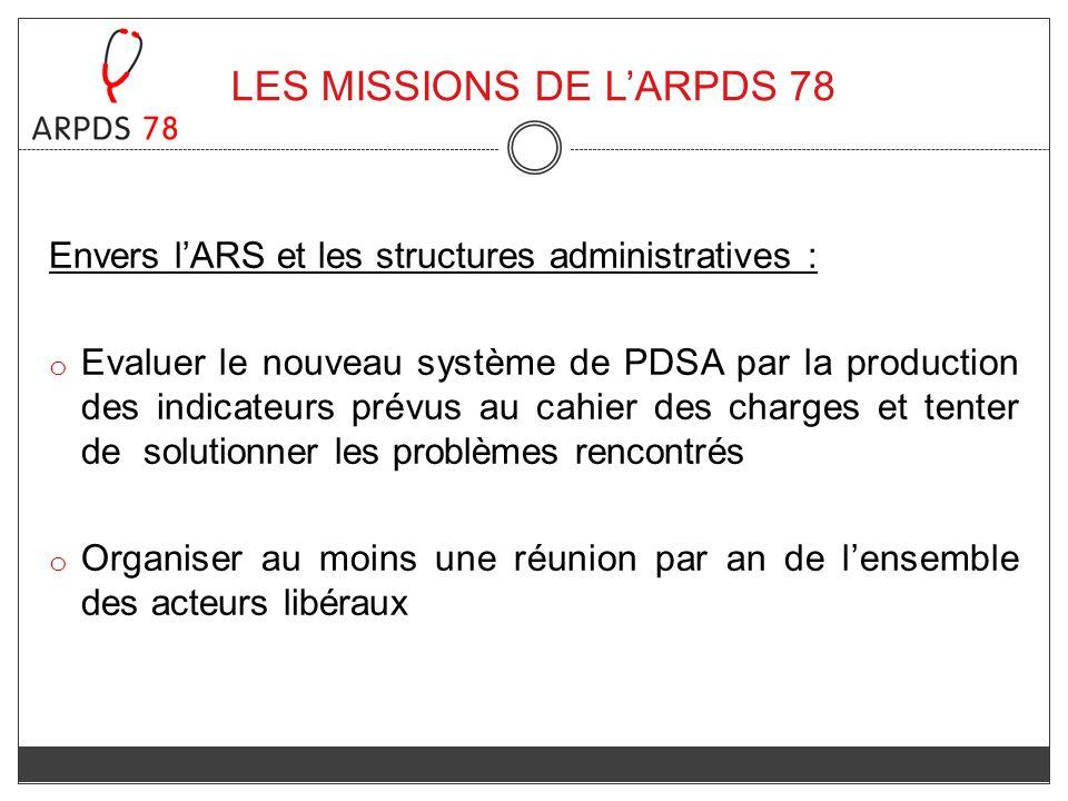 Envers lARS et les structures administratives : o Evaluer le nouveau système de PDSA par la production des indicateurs prévus au cahier des charges et