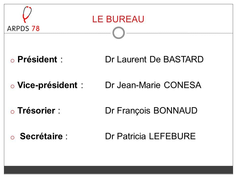 o Président : Dr Laurent De BASTARD o Vice-président : Dr Jean-Marie CONESA o Trésorier : Dr François BONNAUD o Secrétaire : Dr Patricia LEFEBURE LE B