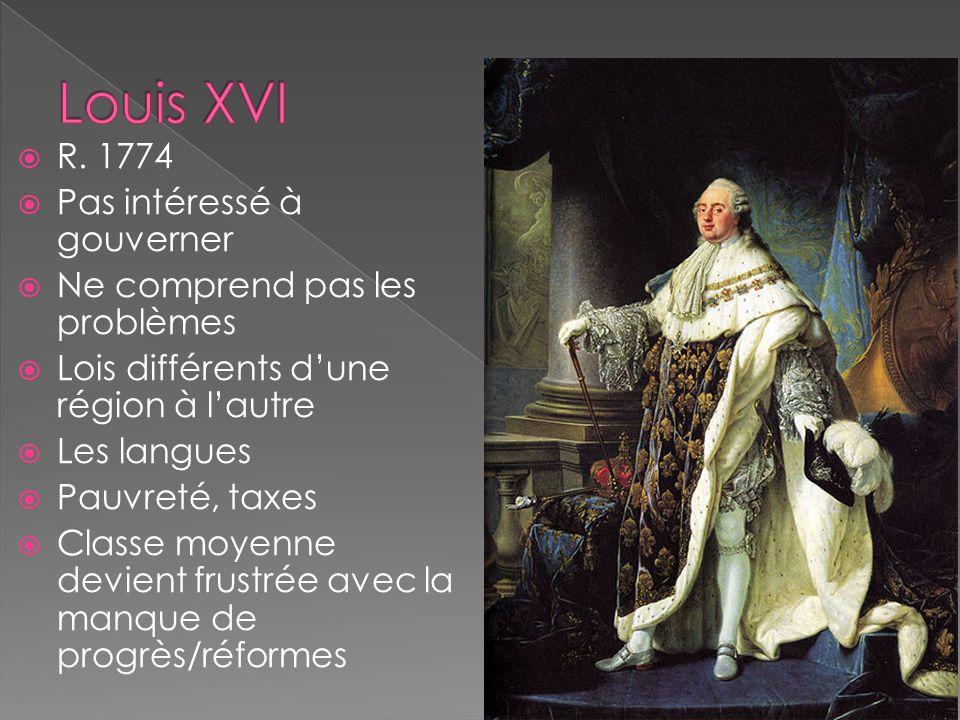 R. 1774 Pas intéressé à gouverner Ne comprend pas les problèmes Lois différents dune région à lautre Les langues Pauvreté, taxes Classe moyenne devien