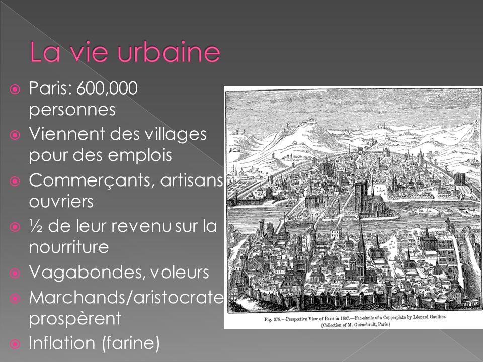 Paris: 600,000 personnes Viennent des villages pour des emplois Commerçants, artisans, ouvriers ½ de leur revenu sur la nourriture Vagabondes, voleurs Marchands/aristocrate prospèrent Inflation (farine)