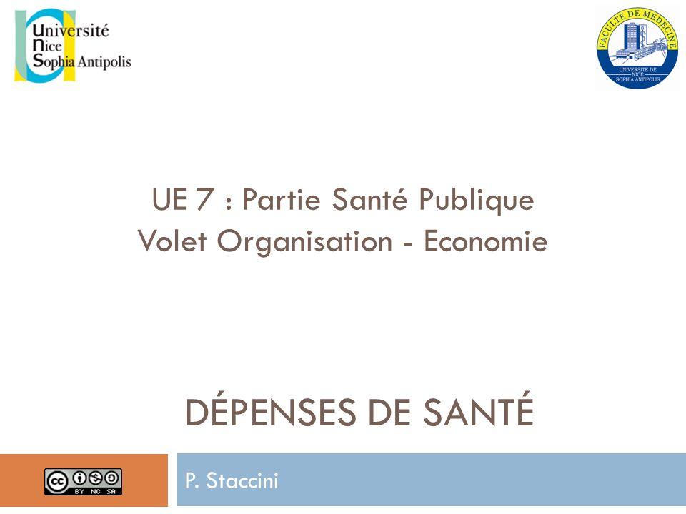 DÉPENSES DE SANTÉ P. Staccini UE 7 : Partie Santé Publique Volet Organisation - Economie