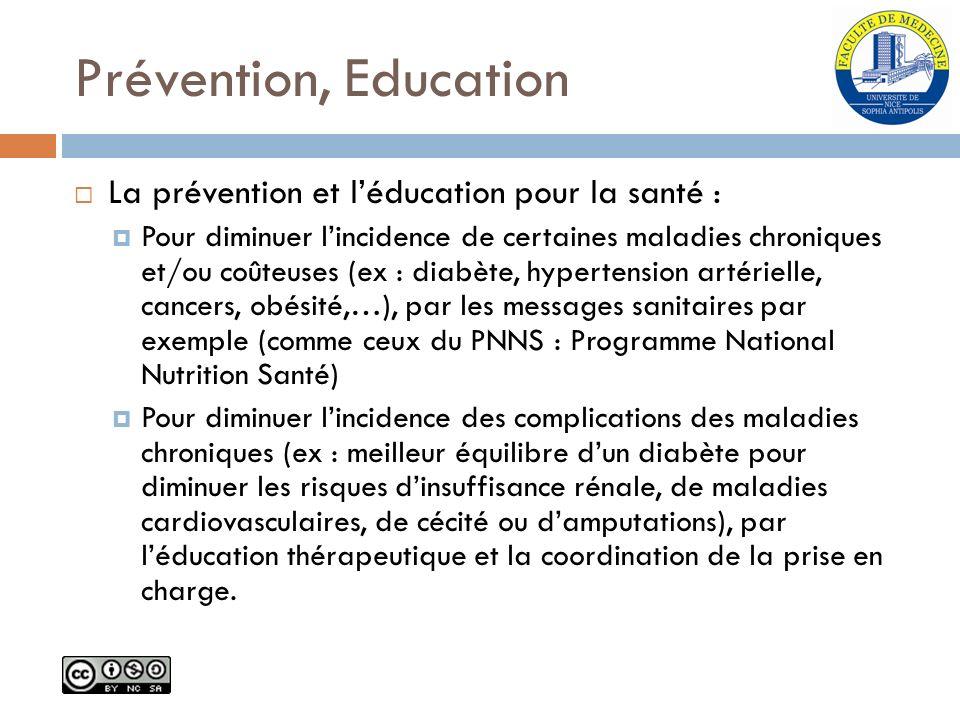 Prévention, Education La prévention et léducation pour la santé : Pour diminuer lincidence de certaines maladies chroniques et/ou coûteuses (ex : diab