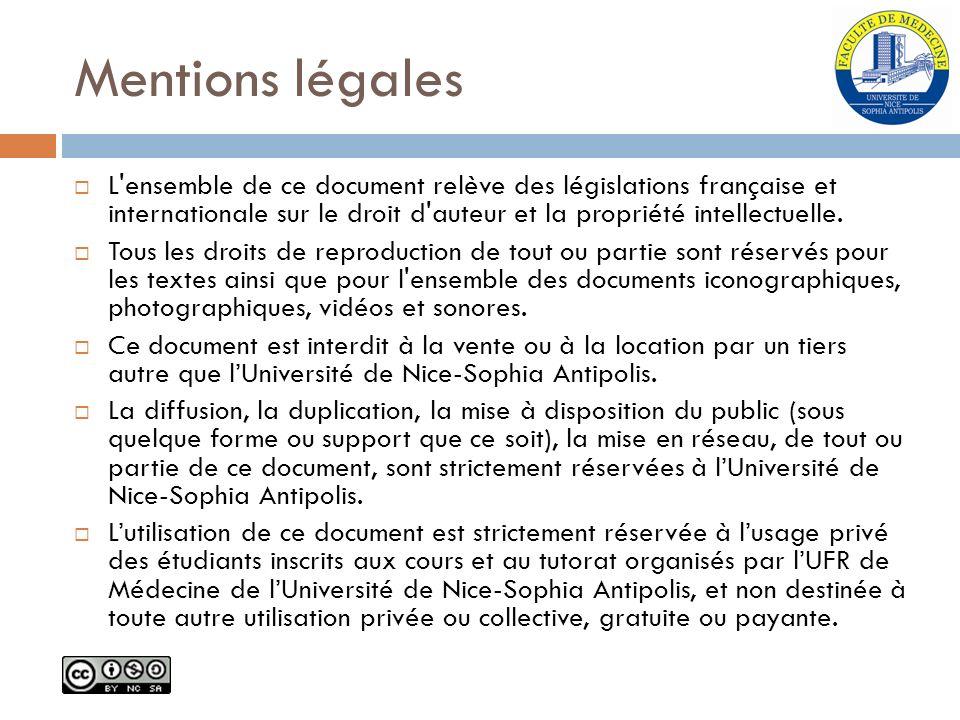 Mentions légales L'ensemble de ce document relève des législations française et internationale sur le droit d'auteur et la propriété intellectuelle. T