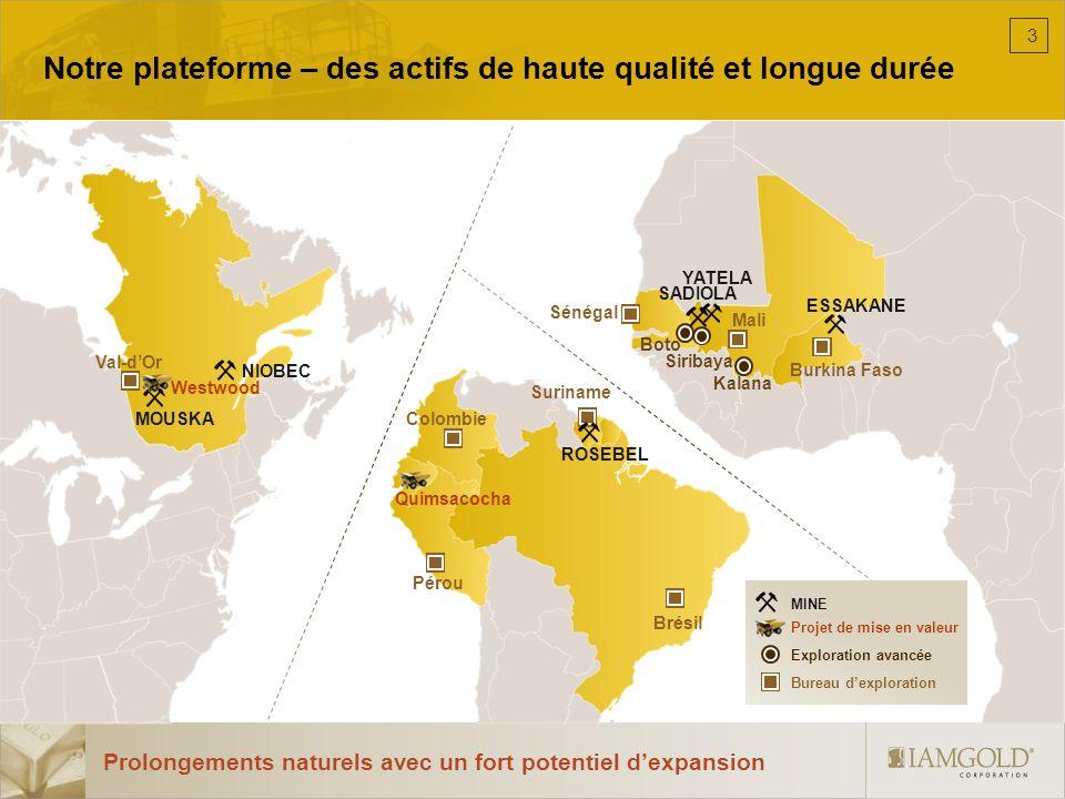 Historique dIAMGOLD 19901995200020052010 1990 Les co-fondateurs obtiennent la concession dexploration Sadiola, au Mali 1991 Création de la compagnie privée International African Mining Gold Corporation (IAMGOLD) Identification du gisement Sadiola Hill 4