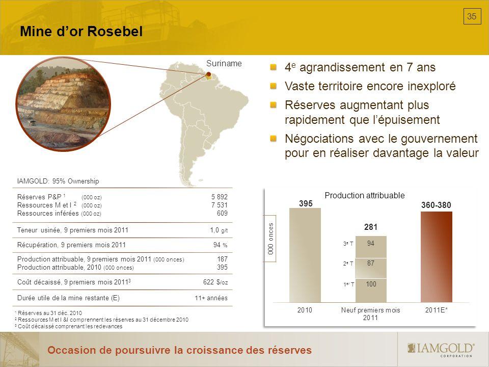 Mine dor Rosebel 4 e agrandissement en 7 ans Vaste territoire encore inexploré Réserves augmentant plus rapidement que lépuisement Négociations avec l