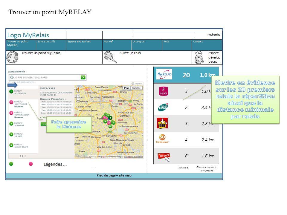 Trouver un point MyRELAY 20 1,0 km 3 23,4 km 32,8 km 42,4 km 61,6 km Nb relais Distance au relais le + proche