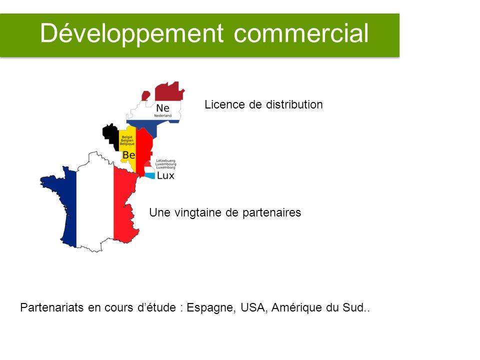 Développement commercial Licence de distribution Une vingtaine de partenaires Partenariats en cours détude : Espagne, USA, Amérique du Sud..