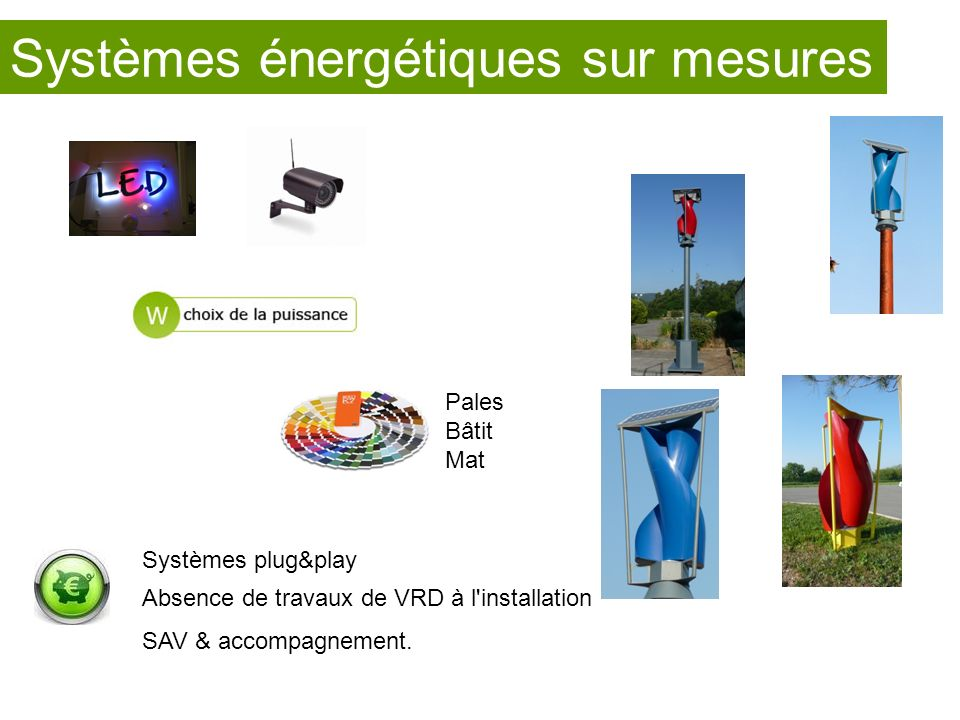 Systèmes plug&play Absence de travaux de VRD à l'installation SAV & accompagnement. Pales Bâtit Mat Systèmes énergétiques sur mesures