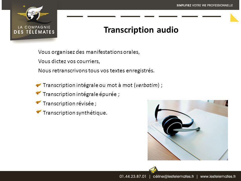 Transcription audio Vous organisez des manifestations orales, Vous dictez vos courriers, Nous retranscrivons tous vos textes enregistrés. Transcriptio