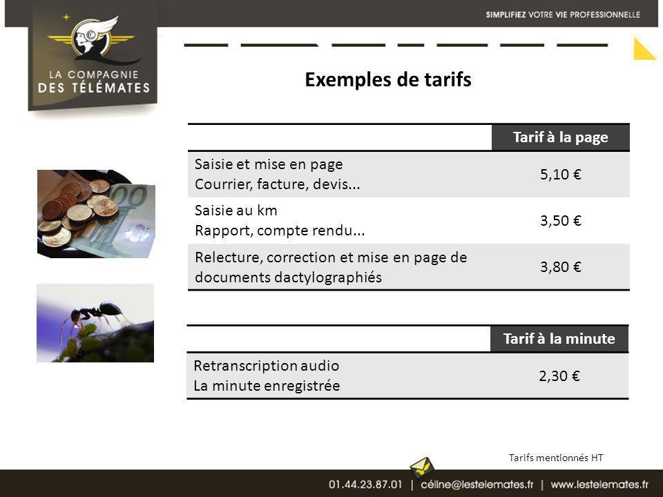 Exemples de tarifs Tarif à la page Saisie et mise en page Courrier, facture, devis... 5,10 Saisie au km Rapport, compte rendu... 3,50 Relecture, corre