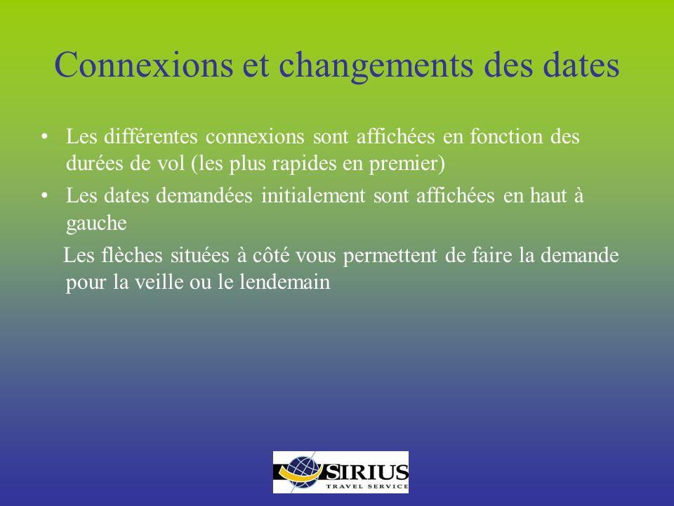 Connexions et changements des dates Les différentes connexions sont affichées en fonction des durées de vol (les plus rapides en premier) Les dates de