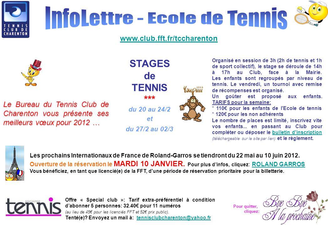 www.club.fft.fr/tccharenton Le Bureau du Tennis Club de Charenton vous présente ses meilleurs vœux pour 2012 … STAGES de TENNIS *** du 20 au 24/2 et du 27/2 au 02/3 Les prochains Internationaux de France de Roland-Garros se tiendront du 22 mai au 10 juin 2012.