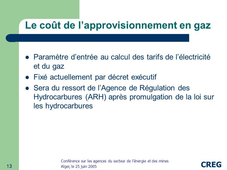 Conférence sur les agences du secteur de lénergie et des mines Alger, le 25 juin 2005 CREG 13 Le coût de lapprovisionnement en gaz Paramètre dentrée au calcul des tarifs de lélectricité et du gaz Fixé actuellement par décret exécutif Sera du ressort de lAgence de Régulation des Hydrocarbures (ARH) après promulgation de la loi sur les hydrocarbures