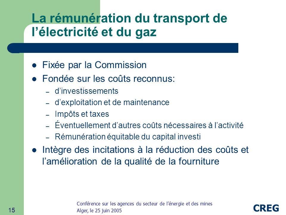Conférence sur les agences du secteur de lénergie et des mines Alger, le 25 juin 2005 CREG 15 La rémunération du transport de lélectricité et du gaz Fixée par la Commission Fondée sur les coûts reconnus: – dinvestissements – dexploitation et de maintenance – Impôts et taxes – Éventuellement dautres coûts nécessaires à lactivité – Rémunération équitable du capital investi Intègre des incitations à la réduction des coûts et lamélioration de la qualité de la fourniture