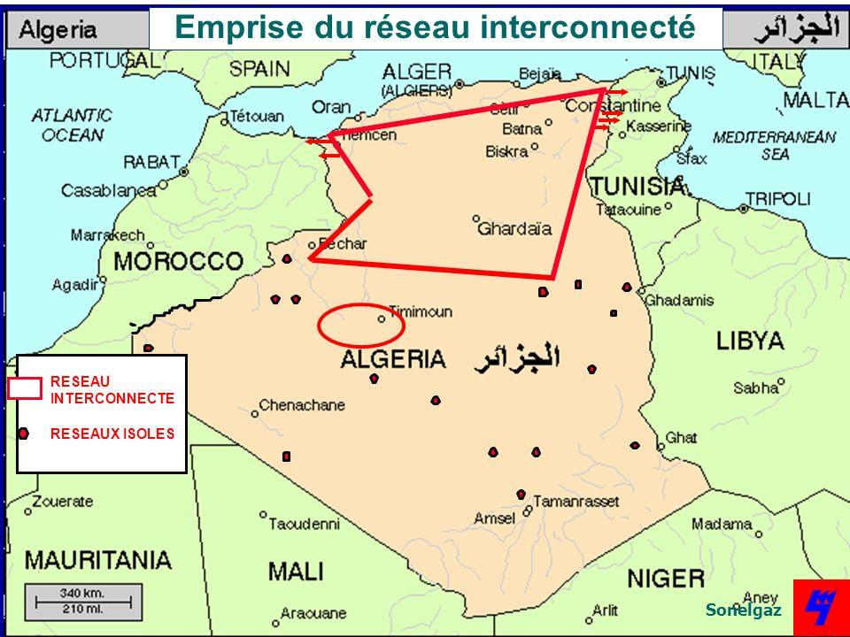 RESEAU INTERCONNECTE RESEAUX ISOLES Emprise du réseau interconnecté Sonelgaz