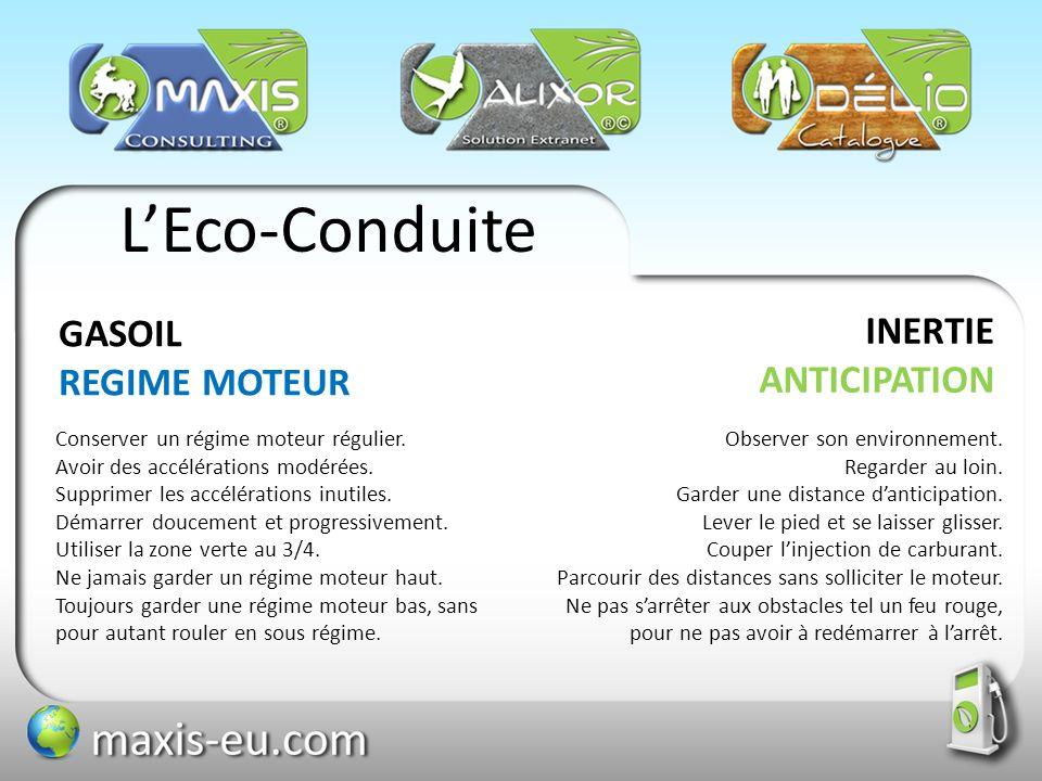 LEco-Conduite INERTIE ANTICIPATION GASOIL REGIME MOTEUR Observer son environnement. Regarder au loin. Garder une distance danticipation. Lever le pied