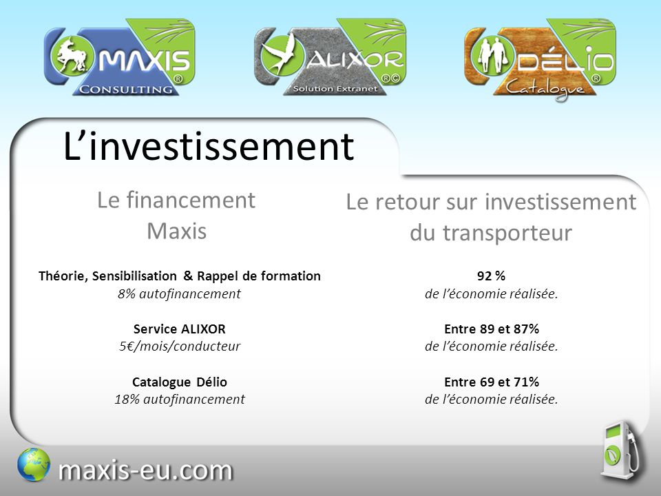 Linvestissement Théorie, Sensibilisation & Rappel de formation 8% autofinancement Service ALIXOR 5/mois/conducteur Catalogue Délio 18% autofinancement Le retour sur investissement du transporteur Le financement Maxis 92 % de léconomie réalisée.