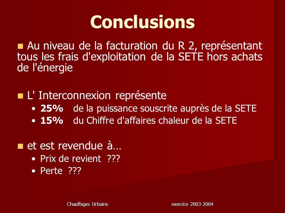 Chauffages Urbains exercice 2003-2004 Conclusions Au niveau de la facturation du R 2, représentant tous les frais d'exploitation de la SETE hors achat