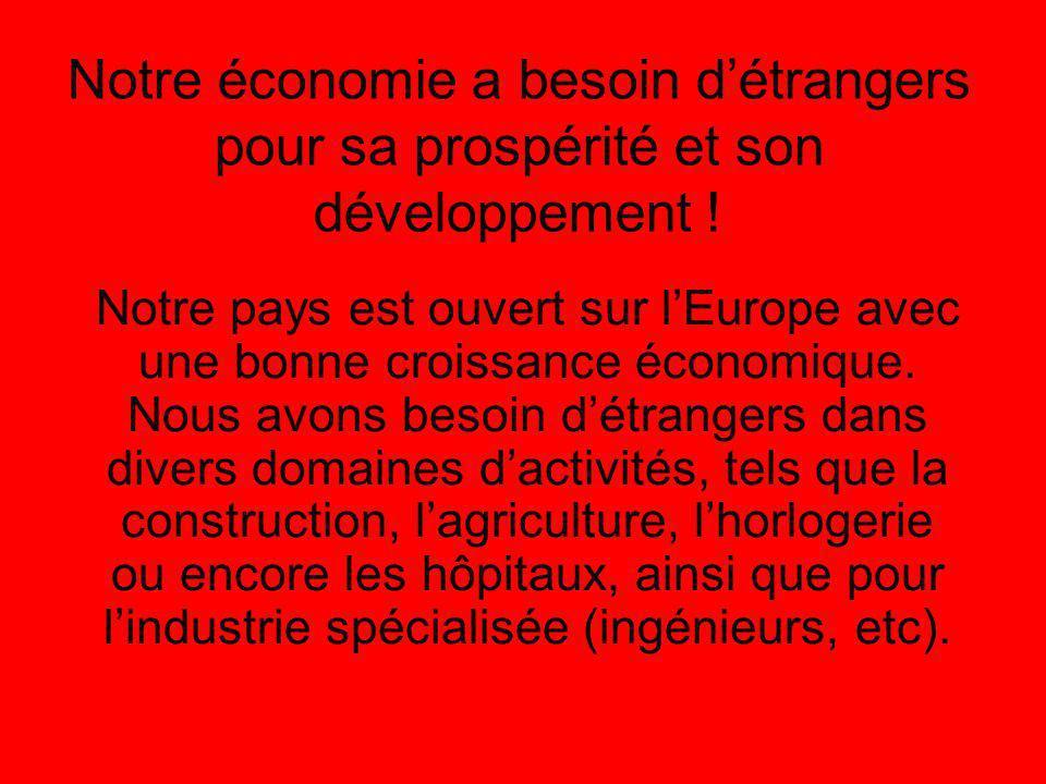 Notre économie a besoin détrangers pour sa prospérité et son développement .