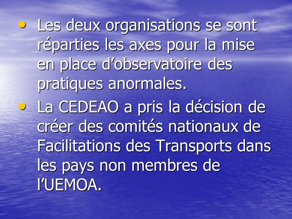 Les deux organisations se sont réparties les axes pour la mise en place dobservatoire des pratiques anormales. Les deux organisations se sont répartie