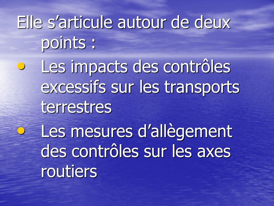 Elle sarticule autour de deux points : Les impacts des contrôles excessifs sur les transports terrestres Les impacts des contrôles excessifs sur les t
