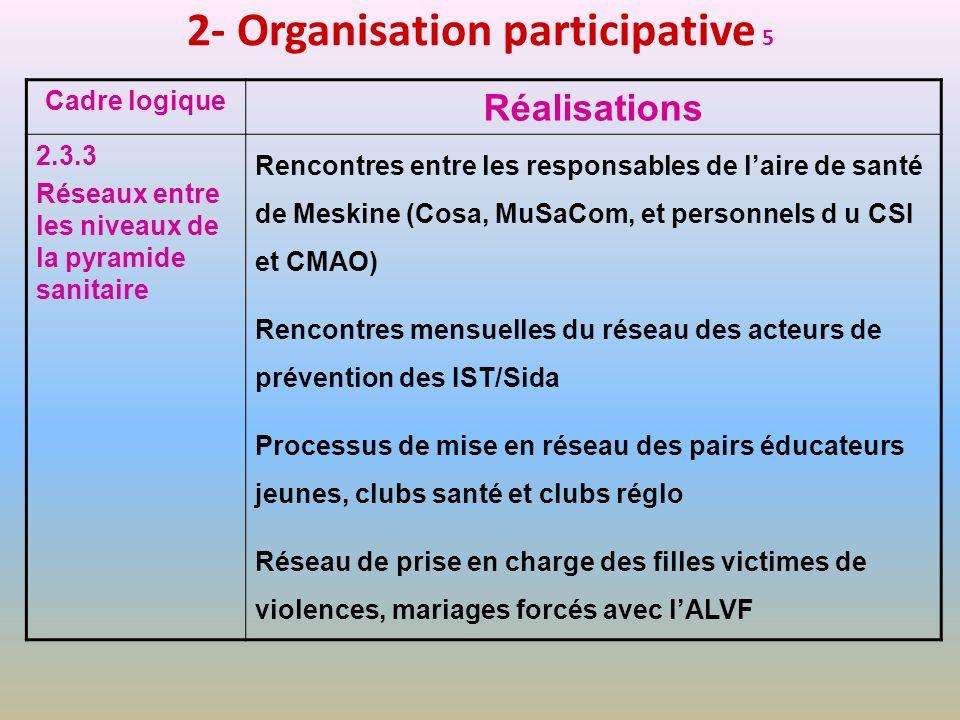 2- Organisation participative 5 Cadre logique Réalisations 2.3.3 Réseaux entre les niveaux de la pyramide sanitaire Rencontres entre les responsables