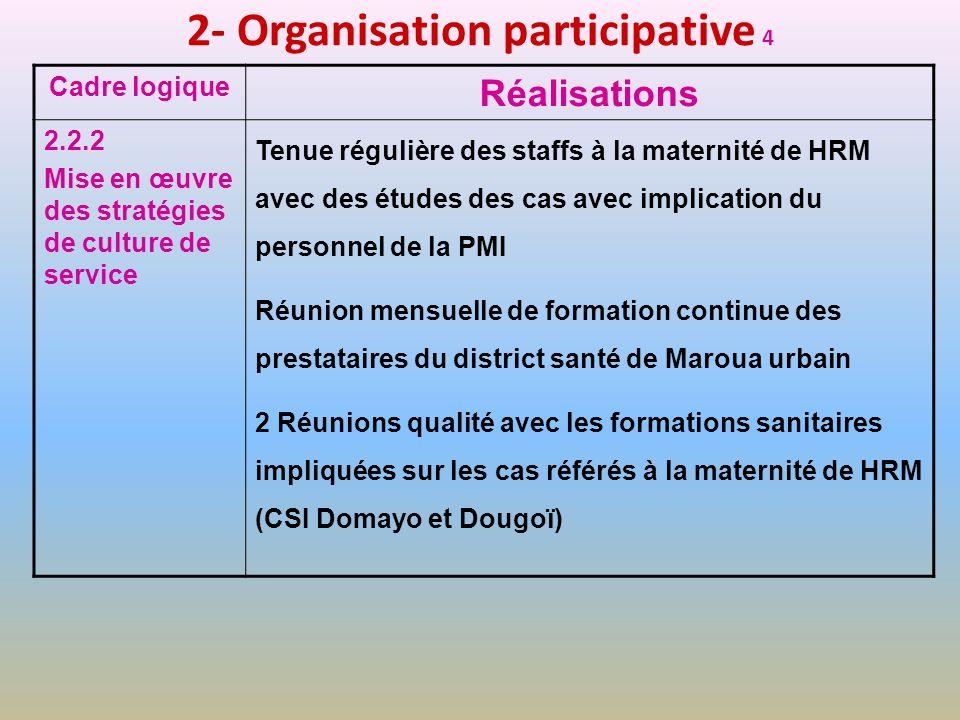 2- Organisation participative 4 Cadre logique Réalisations 2.2.2 Mise en œuvre des stratégies de culture de service Tenue régulière des staffs à la ma