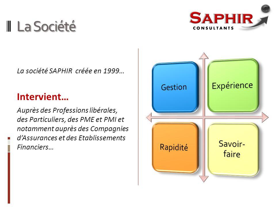 La Société La société SAPHIR créée en 1999… Intervient… Auprès des Professions libérales, des Particuliers, des PME et PMI et notamment auprès des Compagnies dAssurances et des Etablissements Financiers…